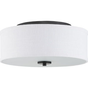 Graphite LED One-Light Flush Mount With Fabric Shade