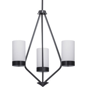 Elevate Black Three-Light Chandelier With Etched White Glass