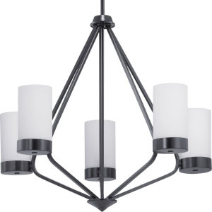 Elevate Black Five-Light Chandelier With Etched White Glass