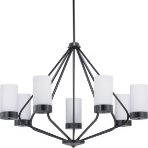 Elevate Black Seven-Light Chandelier With Etched White Glass