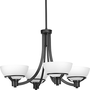 P400035-031: Domain Black Four-Light Chandelier