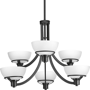 P400036-031: Domain Black Six-Light Chandelier