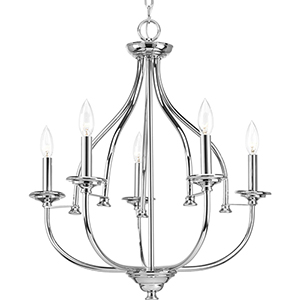 P400066-015: Tinsley Polished Chrome Five-Light Chandelier