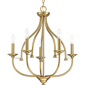 P400066-109: Tinsley Brushed Bronze Five-Light Chandelier