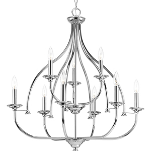 P400067-015: Tinsley Polished Chrome Nine-Light Chandelier