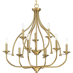 P400067-109: Tinsley Brushed Bronze Nine-Light Chandelier