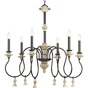 P400069-077: Bergamo Forged Bronze Six-Light Chandelier