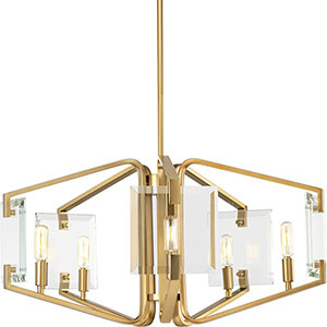 P400071-109: Cahill Brushed Bronze Five-Light Chandelier