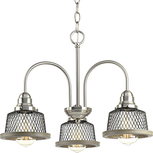 P400073-009: Tilley Brushed Nickel Three-Light Chandelier