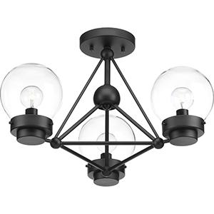 P400077-031: Spatial Black Three-Light Semi Flush Mount