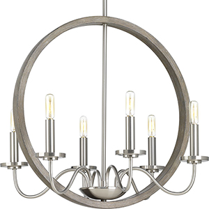 P400081-009: Fontayne Brushed Nickel Six-Light Chandelier