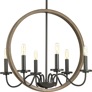 P400081-020: Fontayne Antique Bronze Six-Light Chandelier