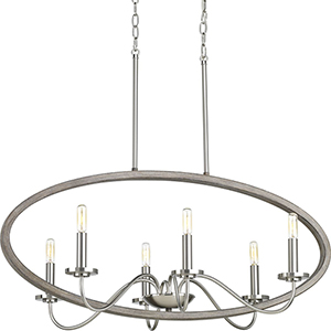 P400082-009: Fontayne Brushed Nickel Six-Light Chandelier