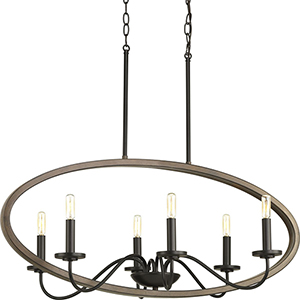 P400082-020: Fontayne Antique Bronze Six-Light Chandelier