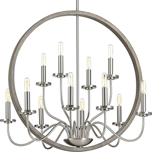 P400083-009: Fontayne Brushed Nickel 12-Light Chandelier