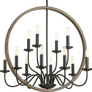 P400083-020: Fontayne Antique Bronze 12-Light Chandelier