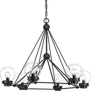 P400084-031: Spatial Black Six-Light Chandelier