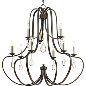 P400088-020: Anjoux Antique Bronze Nine-Light Chandelier