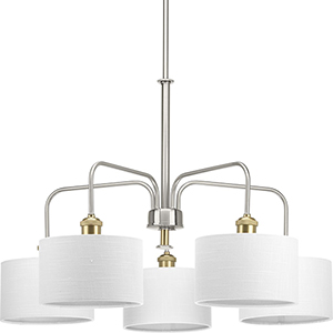 P400090-009: Cordin Brushed Nickel Five-Light Chandelier