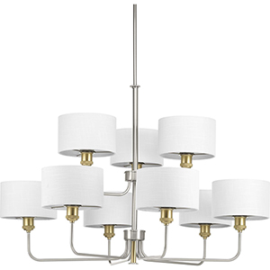 P400091-009: Cordin Brushed Nickel Nine-Light Chandelier