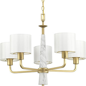 P400098-078: Palacio Vintage Gold Five-Light Chandelier
