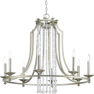 P400100-134: Desiree Silver Ridge Eight-Light Chandelier