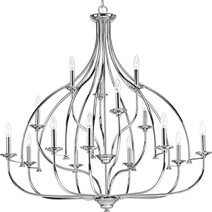 P400110-015: Tinsley Polished Chrome 15-Light Chandelier