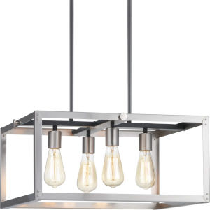Stainless Steel Four-Light Chandelier