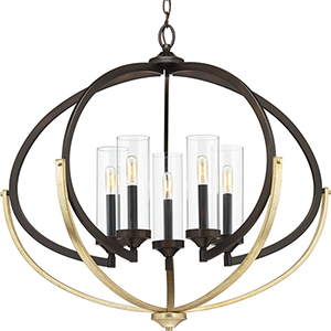 P400117-020: Evoke Antique Bronze and Gold Five-Light Chandelier