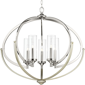 P400117-104: Evoke Polished Nickel and Silver Five-Light Chandelier