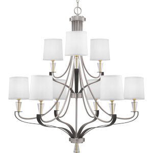 Nealy Brushed Nickel Nine-Light Chandelier