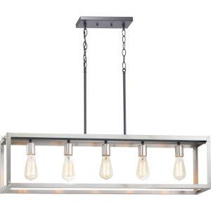 Stainless Steel Five-Light Chandeliers
