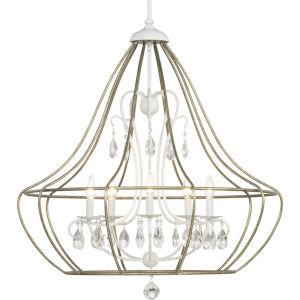 Fleurette Cottage White Five-Light Chandelier