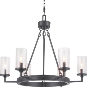 Gresham Graphite Six-Light Chandelier With Transparent Seeded Glass