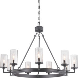 Gresham Graphite Nine-Light Chandelier With Transparent Seeded Glass