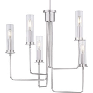 Rainey Brushed Nickel Five-Light Chandelier With Transparent Ribbed Glass