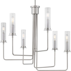 Rainey Brushed Nickel Six-Light Chandelier With Transparent Ribbed Glass