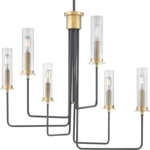 Rainey Graphite Six-Light Chandelier With Transparent Ribbed Glass