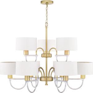 Rigsby Vintage Gold Nine-Light Chandelier