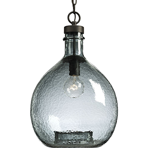 P500064-020: Zin Antique Bronze One-Light Pendant with Recycled Blue Textured Glass