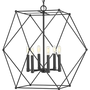 P500084-031: Spatial Black Six-Light Pendant