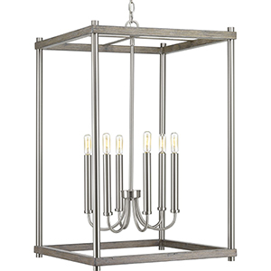 P500089-009: Fontayne Brushed Nickel Six-Light Pendant