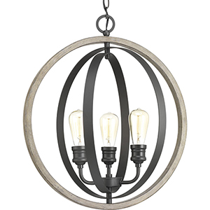 P500093-143: Conestee Graphite Three-Light Pendant
