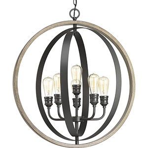 P500094-143: Conestee Graphite Six-Light Pendant