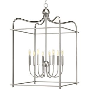 P500097-009: Assembly Hall Brushed Nickel Eight-Light Pendant