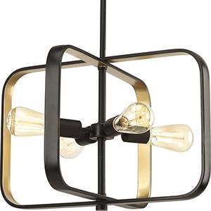 P500111-020: Centre Antique Bronze and Gold Four-Light Pendant