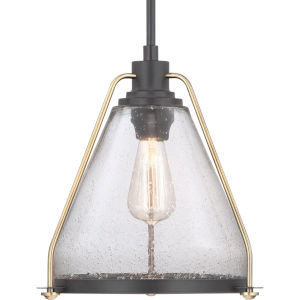 Antique Bronze One-Light Pendant With Transparent Seeded Glass
