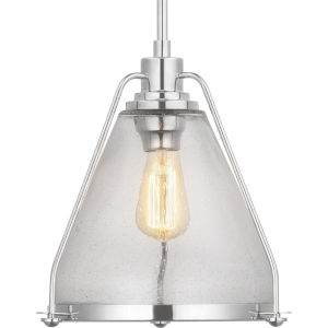 Polished Nickel One-Light Pendant With Transparent Seeded Glass