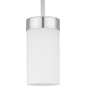 Elevate Polished Chrome One-Light Mini-Pendant With Etched White Glass