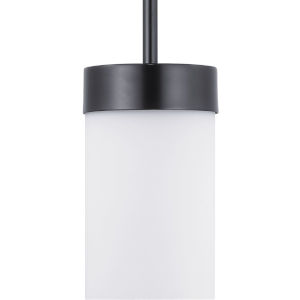 Elevate Black One-Light Mini-Pendant With Etched White Glass